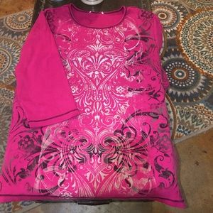 DRESSBARN PINK W / BLACK ANd SILVER PATTERN